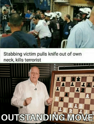 Dank, Memes, and Target: 34  Stabbing victim pulls knife out of own  neck, kills terrorist  OUTSTANDING MOME OUTSTANDING MOVE by Kiana12345 MORE MEMES
