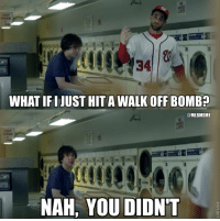 The #Dodgers take Game 1 from the #Nationals #NLDS: 34  WHAT IFI IUST HITA WALK OFF BOMB?  @MLBMEME  NAH, YOU DIDN'T The #Dodgers take Game 1 from the #Nationals #NLDS