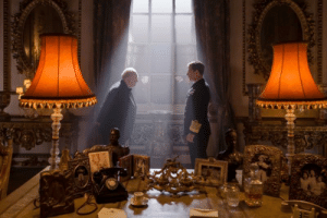 """In """"The Darkest Hour"""" (2017) where the scene with Churchill and King George VI, Churchill slowly shuffles out the door backwards after their meet as it is considered rude to turn your back on a royal.: 34ARRRNLEINIALEARLELINIRILWILES In """"The Darkest Hour"""" (2017) where the scene with Churchill and King George VI, Churchill slowly shuffles out the door backwards after their meet as it is considered rude to turn your back on a royal."""