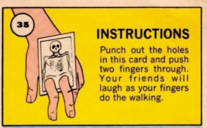 punch out: 35  INSTRUCTIONS  Punch out the holes  in this card and push  two fingers through.  Your friends will  laugh as your fingers  do the walking.