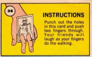 Me_irl: 35  INSTRUCTIONS  Punch out the holes  in this card and push  two fingers through  Your friends will  laugh as your fingers  do the walking. Me_irl