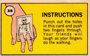punch out: 35  INSTRUCTIONS  Punch out the holes  in this card and push  two fingers through.  Your friends will  laugh as your fingers  do the walking