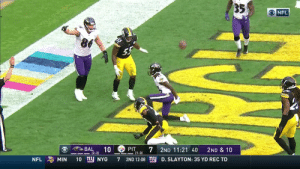 Marquise Brown out jumps everybody for the TD! @primetime_jet @lj_era8   📺: CBS 📱: NFL app // Yahoo Sports app Watch free on mobile: https://t.co/d6meepU6Nz https://t.co/be7B3eDiku: 35  O NFL  BAL  10  7  PIT  2ND 11:21 40  2ND & 10  |(2-2)  1-3)  10 ny NYG  2ND 12:08 nu  MIN  D. SLAYTON: 35 YD REC TD  NFL  7 Marquise Brown out jumps everybody for the TD! @primetime_jet @lj_era8   📺: CBS 📱: NFL app // Yahoo Sports app Watch free on mobile: https://t.co/d6meepU6Nz https://t.co/be7B3eDiku