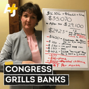 JPMorgan's CEO is paid nearly 400 times more than an average employee in the company. Rep. Katie Porter did the math to prove how unlivable the entry-level salary is.: $3507O  * After tax 29, (OO  .2425 = mo.atukekonee  1 2  -|bedroom A-Rehe,  -loff1iHies  $ 100- utilities  250 - car pymt 200g ca  -$ 402-USDA-low-cost 'for  -877  40-phone.  4-ichool childcare  67 Rer month  CONGRESS  GRILLS BANKS JPMorgan's CEO is paid nearly 400 times more than an average employee in the company. Rep. Katie Porter did the math to prove how unlivable the entry-level salary is.