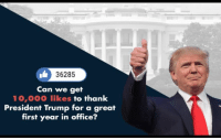 Work, Office, and Trump: 36285  Can we get  10,000 likes to thank  President Trump for a great  first year in office? This Saturday will mark one year since President Trump first took office. LIKE to Congratulate him for his great work so far.