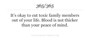 toxic: 365/365  It's okay to cut toxic family members  out of your life. Blood is not thicker  than your peace of mind.  TYPELIKEAGIRL.TUMBLR.COM