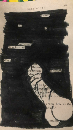 Bones, Blue, and Poetry: 379  BARE BONES  enises  are  verv stron  It sickens me  Why?  Resea  u ave any  thatereat  the lengt  bola his ha  out  ore  ich, bat it's a  s were blue as the  d e.  ound My GF just started doing blackout poetry