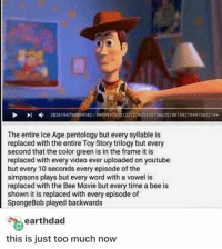 Bee Movie, Memes, and The Simpsons: 3836194794999143 99999978301331279033 107 366357481 59219 49 565 21  The entire Ice Age pentology but every syllable is  replaced with the entire Toy Story trilogy but every  second that the color green is in the frame it is  replaced with every video ever uploaded on youtube  but every 10 seconds every episode of the  simpsons plays but every word with a vowel is  replaced with the Bee Movie but every time a bee is  shown it is replaced with every episode of  SpongeBob played backwards  earthdad  this is just too much now Do you think anyone would be able to successfully watch any of these? ≪sam≫