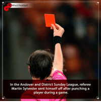 Barcelona, Crazy, and England: 38Fact Football  In the Andover and District Sunday League, referee  Martin Sylvester sent himself off after punching a  player during a game. This is crazy 😱Should he ever Ref again? • • england england spain neymar history football barcelona barcalona cristianoronaldo messi fifa19