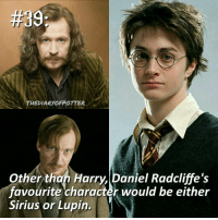 Daniel Radcliffe, Gryffindor, and Memes:  #39  THEDIARYOFPOTER  Other than Harry Daniel Radcliffe's  favourite character would be either  Sirius or Lupin. Comment '😍' if you knew this and '😮' if you didn't! harrypotter thechosenone theboywholived gryffindor siriusblack remueslupin danielradcliffe hogwarts jkrowling harrypottercasts harrypotterfan harrypotterfilm harrypotterfact harrypotterfacts • Potterheads⚡count: 49,557