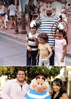 Disney, Disney World, and World: 39 years ago, when Alex and Donna Voutsinas lived in different countries and long before they met and married, they were captured in the same photo at Disney World.