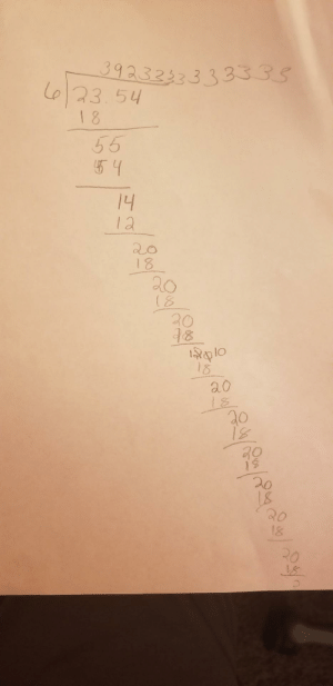 """""""This is impossible!"""", Daughter encountered her first repeating decimal: 39233333.33335  L6/23.54  18  55  54  14  12  20  18  20  18  20  18  18010  18  20  18  20  20  18  20  18  R0 """"This is impossible!"""", Daughter encountered her first repeating decimal"""
