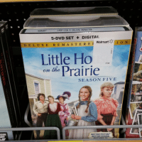 Fucking, Funny, and Little House on the Prairie: LHOP-SSN 5 DELUXE REMASTER  5-DVD SET DIGITAL  Walmart  I O N  D E L, U x E R E M A s T E R E I  Little Ho  on the Prairie  SEASON FIVE  BETTER PICTUR  BETTER SOUND  RESTORED TO Walmart's sticker placement is on fucking point. Little Ho On The Prairie > Little House On The Prairie.