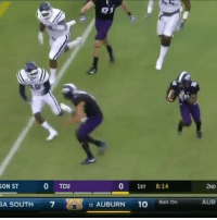 What a play! 😳🙌 TCU (Via @bleacherreport) @worldstar WSHH: 3D  ON ST  0 TCU  0 1ST 8:14  2ND  AUB  7  2 AUBURN 10 Ball On  A SOUTH What a play! 😳🙌 TCU (Via @bleacherreport) @worldstar WSHH