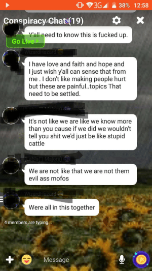 """What a goldmine (part 2): 3G  38% 12:58  Conspiracy Chat (19)  Y'all need to know this is fucked up.  Go Live  WizardHazard  Ihave love and faith and hope and  I just wish y'all can sense that from  me.I don't like making people hurt  but these are painful..topics That  need to be settled.  It's not like we are like we know more  than you cause if we did we wouldn't  tell you shit we'd just be like stupid  cattle  (Labia("""") Majora) w  We are not like that we are not them  evil ass mofos  WizardHazard  Were all in this together  4 members are typing...  Message What a goldmine (part 2)"""