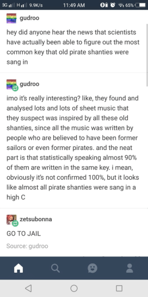 Sea shanties: 3G II HL 9.9K/s  1 1 :49 AM  i  )  65%  gudroo  hey did anyone hear the news that scientists  have actually been able to figure out the most  common key that old pirate shanties were  sang in  gudroo  imo it's really interesting? like, they found and  analysed lots and lots of sheet music that  they suspect was inspired by all these old  shanties, since all the music was written by  people who are believed to have been former  sailors or even former pirates. and the neat  part is that statistically speaking almost 90%  of them are written in the same key. i mean,  obviously it's not confirmed 100%, but it looks  like almost all pirate shanties were sang in a  high C  zetsubonna  GO TO JAIL  Source: gudroo Sea shanties
