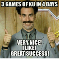 Looking forward to a weekend full of turkey and hoops 🍗🏀🍗🏀🍗🏀 KUbball Borat VeryNice: 3GAMES OF KUIN 4 DAYS  VERY NICE!  I LIKE!  GREAT SUCCESS! Looking forward to a weekend full of turkey and hoops 🍗🏀🍗🏀🍗🏀 KUbball Borat VeryNice
