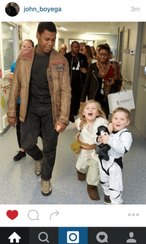 """Crying, Finn, and John Boyega: 3m  john_boyega sewingfrommagic:  wittyhistorian:  luanna801:  tinyshinytimelord:  castielcampbell:  solovalker:  John is too good for this world  No, no. Tell the story. The little boy (whose name escapes me) has a brain tumor. He wanted to meet Finn, but he didn't want him to himself. He wanted Finn to visit with all the kids at the pediatric ward. John stayed in character the ENTIRE time and he taught Finn about all kinds of Earth things. The little girl is Layla. She asked Finn where Rey was. He said he didn't know. Kylo knocked him out and he didn't know where Rey was. And she said""""that's okay, I'll be your Rey."""" im crying. and so are you  !!!!!   The little boy is named Daniel! You can read an article about it here. And here are some more pictures which are precious:   This is the note I'll end 2017 on.  There is good in this world, and it's worth fighting for.    :'D"""