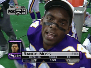 Randy Moss was Hall of Fame bound after he put up this stat line on Thanksgiving https://t.co/yb7L9I1Dfj: 3RD :06  FOX MIN 39  DAL 22  FOX  RANDY MOSS  YARDS  84  СAТCHES  TD  163  33 Randy Moss was Hall of Fame bound after he put up this stat line on Thanksgiving https://t.co/yb7L9I1Dfj