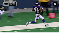 Football, Memes, and Thanksgiving: 3RD :07  MIN 32  DAL 22  FOX  1 We interrupt your Thanksgiving football programming to remind you... It's been 20 years since @RandyMoss did THIS. 🦃😱  Follow @NFLThrowback for more legendary football moments! https://t.co/9xyKg7mjhA