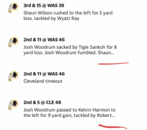 The yahoo sports app cuts off the football play by play and there is no way to expand: 3rd & 15 @ WAS 38  Shaun Wilson rushed to the left for 5 yard  loss, tackled by Wyatt Ray  2nd & 11 @ WAS 46  Josh Woodrum sacked by Tigie Sankoh for 8  yard loss. Josh Woodrum fumbled. Shaun...  2nd & 11 @ WAS 46  Cleveland timeout  2nd & 5@ CLE 48  Josh Woodrum passed to Kelvin Harmon to  the left for 9 yard gain, tackled by Robert... The yahoo sports app cuts off the football play by play and there is no way to expand