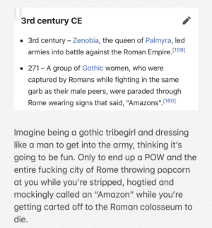 "me_irl: 3rd century CE  • 3rd century - Zenobia, the queen of Palmyra, led  armies into battle against the Roman Empire.(159]  • 271 - A group of Gothic women, who were  captured by Romans while fighting in the same  garb as their male peers, were paraded through  Rome wearing signs that said, ""Amazons"". 160]  Imagine being a gothic tribegirl and dressing  like a man to get into the army, thinking it's  going to be fun. Only to end up a POW and the  entire fucking city of Rome throwing popcorn  at you while you're stripped, hogtied and  mockingly called an ""Amazon"" while you're  getting carted off to the Roman colosseum to  die. me_irl"
