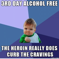 """Heroin, Omg, and Tumblr: 3RD DAY ALCOHOL FREE  THE HEROIN REALLY DOES  CURB THE CRAVINGS  made on imgur <p><a href=""""http://omg-images.tumblr.com/post/153159534247/so-far-so-good"""" class=""""tumblr_blog"""">omg-images</a>:</p>  <blockquote><p>So far, so good.</p></blockquote>"""
