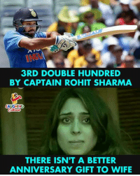 Indianpeoplefacebook, Hitman, and Rohit Sharma: 3RD DOUBLE HUNDRED  BY CAPTAIN ROHIT SHARMA  LAUGHING  THERE ISN'T A BETTER  ANNIVERSARY GIFT TO WIFIE #RohitSharma #Hitman #IndVsSL