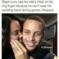 Lol if they split he'll tell people he just an Oakland A's fan: Steph Curry has his wife's initial on his ring finger because he can't wear his wedding band during games. Respect. Lol if they split he'll tell people he just an Oakland A's fan