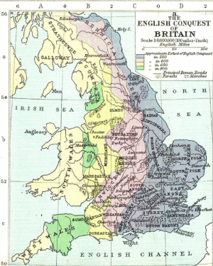 """land-of-maps:  Map of the Anglo-Saxon Conquest of Britain and the Anglo-Saxon Kingdoms [1123 x 1400]CLICK HERE FOR MORE MAPS!: 4  0  THE  ENGLISH CONQUEST  HoTyI.  BRITAIN  Scale I: 6.000,000 (100miles-linch)  English Miles  50  200  Approximate ErtentofEnglish Conquest  enta  n 550  """" in 600  """" in 650  """" in 80o  a.  principal Boman Roads  si'. Eorests Marshes  N O R T H  ELMET  S E A  Merse  Anglese  Chesten  iM  BSAE  52  SOU欠  olehester  orta  on  sfleet  DORSAE  Wight  ENGLİSH CHANNEL  50 land-of-maps:  Map of the Anglo-Saxon Conquest of Britain and the Anglo-Saxon Kingdoms [1123 x 1400]CLICK HERE FOR MORE MAPS!"""