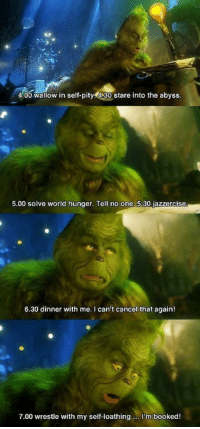 The Grinch: 4.00 wallow in self-pity 4.30 stare into the abyss.  5.00 solve world hunger. Tell no one  30 jazzercise  6.30 dinner with me. can't cancel that again  7.00 wrestle with my self-loathing m booked! The Grinch