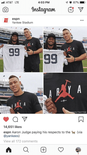 The legend of Arya continues: 4:03 PM  AT&T LTE  Instagram  espn  Yankee Stadium  S/TWITTER  14,651 likes  espn Aaron Judge paying his respects to the  @yankees)  View all 172 comments  (via The legend of Arya continues