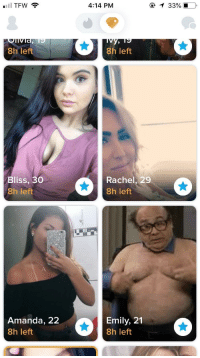 tinderventure:  I think we all know who the best choice is: 4:14 PM  8h left  8h left  Bliss, 30  8h left  Rachel, 29  8h left  Amanda, 22  8h left  Emily, 21  8h left tinderventure:  I think we all know who the best choice is