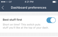 """Android, Bored, and Facebook: 4:21 PM  Dashboard preferences  Best stuff first  Short on time? This switch puts  stuff you'll like at the top of your dash. this-artist-rushes-in: chandra-nalaar:  yahenni:  dr-algernop:  illogical-bullshit:  arielries:  startrekgifs:  preoccupiedpepper:   staff:  Here it is: Best stuff first Extremely handy if you follow a lot of people and hate missing anything good. Best Stuff First moves the best stuff on your dashboard—mhm!—right up to the top. It's rolling out this week on iOS and Android, and comes with this Help Center article. Thanks! ✌️  Head's up folks! Tumblr decided to shit the bed and go non-chronological! This bullshit is being rolled out this week and it's going to be default!   This is dangerous and manipulative. The main reasons for these """"algorithms"""" that Instagram, Facebook and Twitter have rolled out are manipulating what people see. Content they want you to see gets pushed to the top, anything threatening to their interests gets quietly tossed to the bottom so you'll be too tired or bored to see it.  I can see this seriously messing with the livelihood of artists, so please reblog if you can!   This adds a whole new level to being shadowbanned. Now you can just be shadow-shoved-to-the-bottom and no one will ever see your posts again. Ngl I see this as a way Staff will deal with users they find ~problematic~.  Remember that time Facebook did the exact same thing, then conducted illegal psychosocial experiments on it's users by tampering with their activity feeds to make depressing posts, happy posts, etc. show up more often to manipulate the emotional states of their users? It's probably in your best interest to disable this.   Just fyi. This had been turned on for me and I didn't know until I saw this post. It's under General Settings-Dashboard on your mobile settings.  hey you know that feature everyone constantly complains about on facebook and twitter? why dont we put it here too  Not art for once but somethin"""
