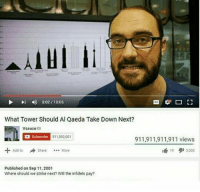 "9/11, Dank, and Meme: 4)  3:02 / 10:06  What Tower Should Al Qaeda Take Down Next?  Vsauce  Subscribe  911,092,001  911,911,911,911 views  lé 19 3000  Add to ShareMore  Share  More  Published on Sep 11, 2001  Where should we strike next? will the infidels pay? <p>9/11 via /r/dank_meme <a href=""http://ift.tt/2jiNhva"">http://ift.tt/2jiNhva</a></p>"