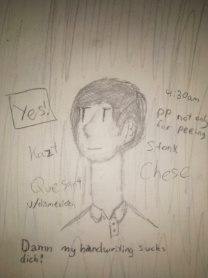 Fall, Quest, and You: 4:30am  PP not anl  for peeing  r  les  Stonk  Kazt  Chese  Quest  0/dismenican  Sava  handwriting Sucks  my  amn  dich!  T Can't fall asleep so I drew this mess for you to decipher