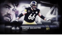 Huge frame. Deceptive agility. And… super strong. 💪   @Steelers Pro Bowler David DeCastro is everything teams look for in a guard. #NFLTop100 https://t.co/bGhR5xYjJX: 4 4 DAVID DECASTOE  YEAR  GUARD  97 Huge frame. Deceptive agility. And… super strong. 💪   @Steelers Pro Bowler David DeCastro is everything teams look for in a guard. #NFLTop100 https://t.co/bGhR5xYjJX