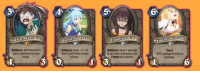 Anime, Party, and Pokemon: 4  5  6  dventurer  sefull Godness  Explosive Girl  Masochist erusader  Fed up  Battlecry: Add Kazuma's  party members to your  hand.  Battlecry: Gain +7/+6.  Then Cast Purify on this  minion.  Battlecry: Deal 2 damage  to all other characters and  Freeze this minion  Taunt.  90% change to deal no  damage.