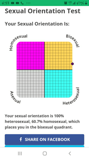 Brih I ain't gay I swear: 4:53 O O C  all 47%  LTE  Sexual Orientation Test  Your Sexual Orientation Is:  Bisexual  lenxasou  Romoserial  Heterosen  Your sexual orientation is 100%  heterosexual, 60.7% homosexual, which  places you in the bisexual quadrant.  f SHARE ON FACEBOOK  II  Asexual Brih I ain't gay I swear