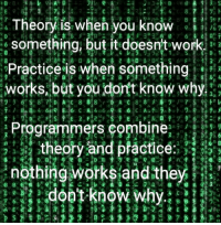 I practice my theory.: 4 8  : Theory is when you know  something, but it doesnt work  Practice is when something?  works,but you dortt knaw why  @ 1 1.0 lji荏レE 4 L/  リ:リマーレ..4レー ラ·リーフ,7 lu s. Cs D. I  Programmers combine  theory and pfactice.  nothing works andthey  ミす I practice my theory.