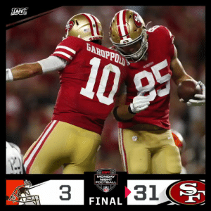 FINAL: The @49ers win big on #MNF! #GoNiners #CLEvsSF  (by @Lexus) https://t.co/LrQxet2s42: 4.918  10  25  MONDAY  NIGHT  FOOTBALL  31  3  FINAL FINAL: The @49ers win big on #MNF! #GoNiners #CLEvsSF  (by @Lexus) https://t.co/LrQxet2s42