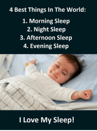 Sleep: 4 Best Things In The World:  1. Morning Sleep  2. Night Sleep  3. Afternoon Sleep  4. Evening Sleep  I Love My Sleep!