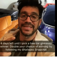 Cars, Memes, and Snapchat: 4 days left until I pick a free car giveaway  winner. Double your chance of winning by  following my atailopez Snapchat 🔥Double your chance of winning the free car by following my @tailopez Snapchat... Only a few days left.🎯I'll pick one random social media follower as the winner  of the free Mustang, Camaro, or F-150 (not a Lamborghini because your taxes and insurance would be super high)... Follow my @tailopez Snapchat to double your odds💪 #payitforward