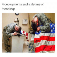 Memes, 🤖, and Dog: 4 deployments and a lifetime of  friendship Nothing like the love and loyalty from a mans best friend. Air Force Sargent hugs military dog wrapped in US flag. Touching moment that reminds us to make the most of the time with the people and pets we love. Tag a friend that inspires you!
