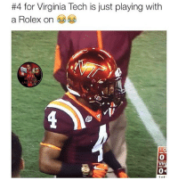 Gotta look fresh on the field fam:  #4 for Virginia Tech is just playing with  a Rolex on  1 O  Vir  04  1 et Gotta look fresh on the field fam