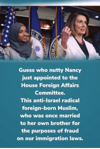 Muslim, Guess, and House: 4  Guess who nutty Nancy  just appointed to the  House Foreign Affairs  Committee.  This anti-Israel radical  foreign-born Muslim,  who was once married  to her own brother for  the purposes of fraud  on our immigration laws.