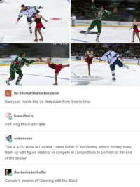 """Dancing With the Stars: 4 im-inlovewithahockeyplayer  Everyone needs this on their dash from time to time  hazelxfaerie  wait omg this is adorable  sabinmoon  This is a TV show in Canada, called Battle of the Blades, where hockey stars  team up with figure skaters, to compete in competitions to perform at teh end  of the season  the sherlockedboffin  Canada's version of """"Dancing with the Stars"""""""