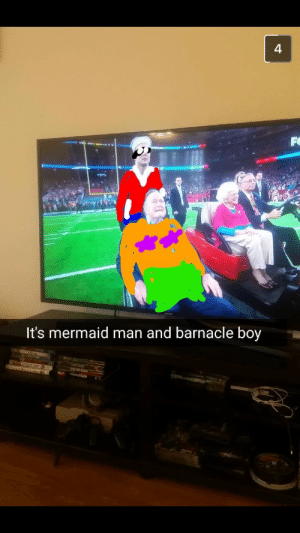 To the Invisible Boat-Mobile!: 4  It's mermaid man and barnacle boy To the Invisible Boat-Mobile!