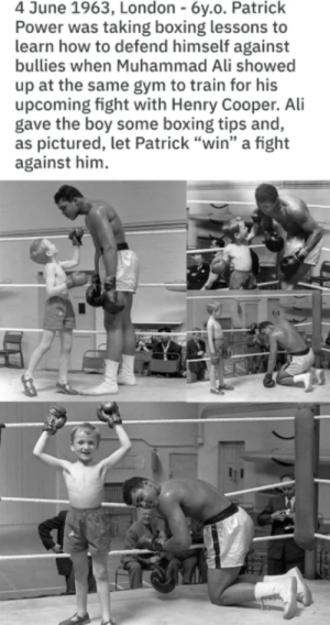 "Wholesome Muhammad Ali: 4 June 1963, London - 6y.o. Patrick  Power was taking boxing lessons to  learn how to defend himself against  bullies when Muhammad Ali showed  up at the same gym to train for his  upcoming fight with Henry Cooper. Ali  gave the boy some boxing tips and,  as pictured, let Patrick ""win"" a fight  against him Wholesome Muhammad Ali"