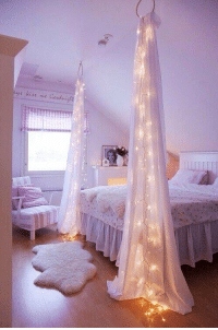 Decorate your room with sheer curtains & christmas lights.: 4 kist one Geod Decorate your room with sheer curtains & christmas lights.